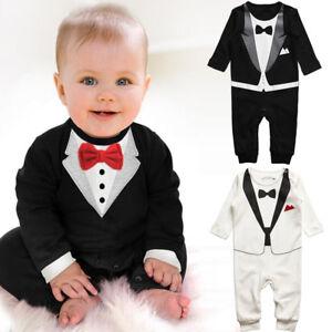 75e3fe3bcf84 Baby Boys Formal Suit Party Wedding Tuxedo Gentleman Romper Jumpsuit ...