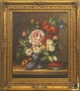 Antique-Vintage-Rare-Original-Canvas-Old-Oil-painting-Still-life-with-flowers
