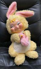 The Rushton Company Vintage Rubber Face Bunny Rabbit Plush Stuffed Holding Chick
