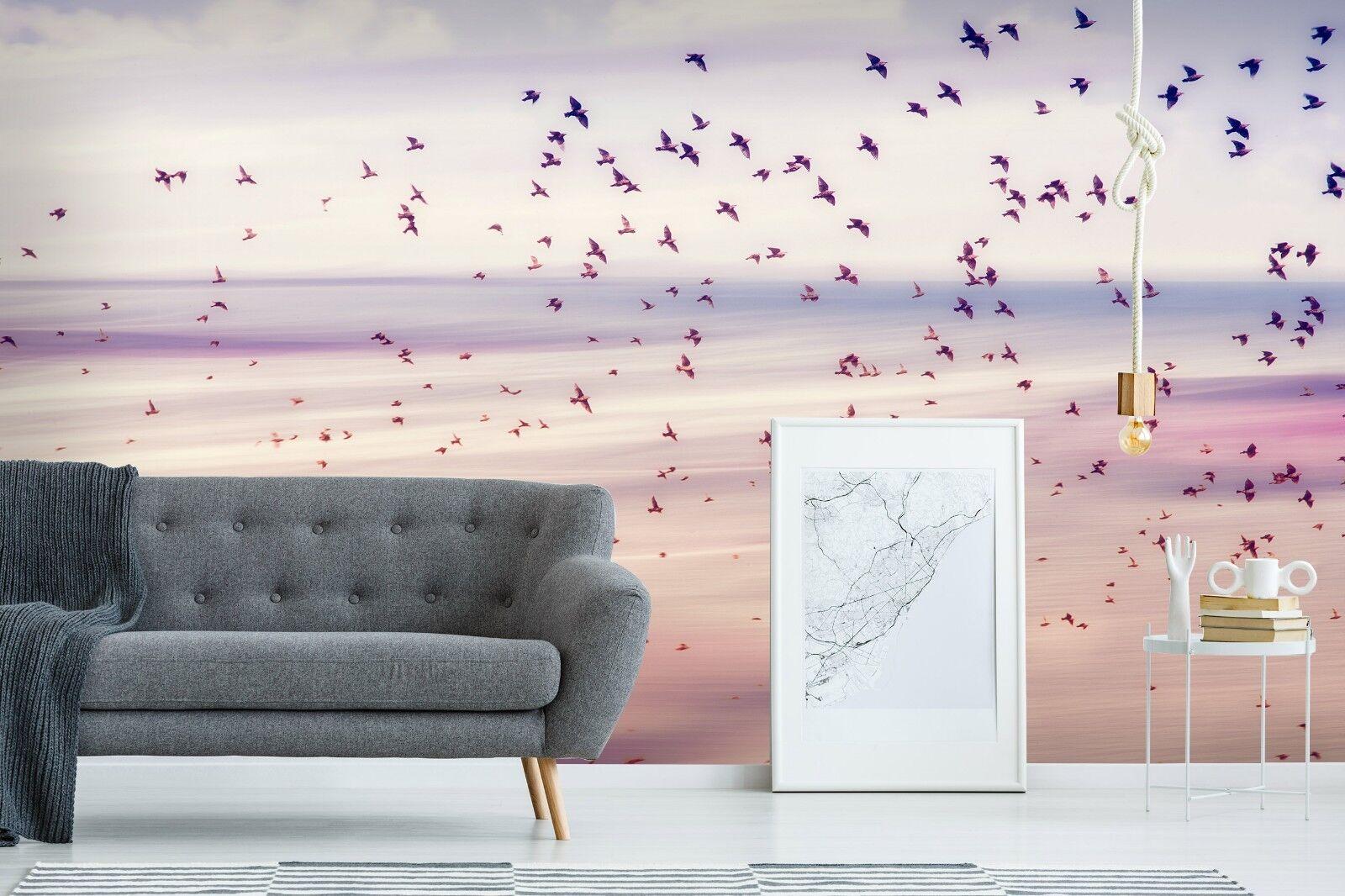 3D Lila Vögel 816 Tapete Wandgemälde Tapete Tapeten Bild Familie DE Lemon