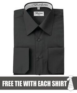 Berlioni-Italy-Men-039-s-Convertible-Cuff-Solid-Dress-Shirt-Black-FREE-TIE