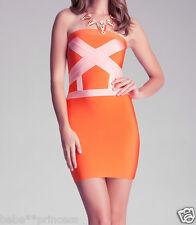 NWT bebe orange cross front strapless colorblock bandage tube top dress L large