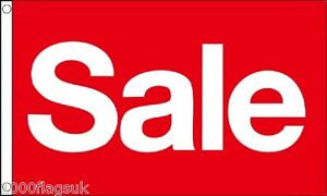 Sale Red and White Shop Sign Advertising POS 5'x3' Flag