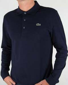 online store 95823 01689 Details about Lacoste Long Sleeve Polo Shirt in Navy Blue - cotton SALE  (SMALL ONLY)
