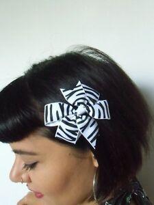 Pince Clip Cheveux Noeud Zebre Rayures Noires Blanc Coiffure Pinup