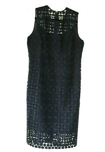 White-House-Black-Market-lace-dress-570234785-navy-officer-blue-women-sz-14-NWT