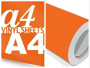 Orange-Gloss-Vinyl-A4-Sheets-to-10-Metre-Roll-Sign-Making-Craft-Stickers-Rolls