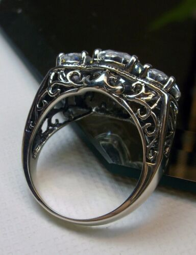 Edwardian Filigree White Gem Solid Sterling Silver Ring Size {Made To Order} #36