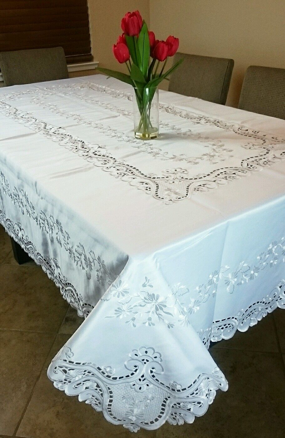 """Beige Ivory 54x72/"""" Embroidery Floral Organza Tablecloth Napkins Wedding Bridal"""