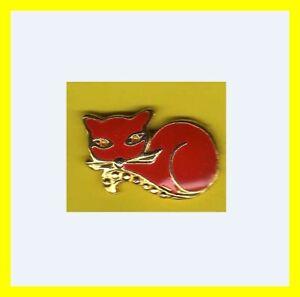 Pin-039-s-lapel-pin-pins-bijoux-CHAT-cat-Rouge-et-dore