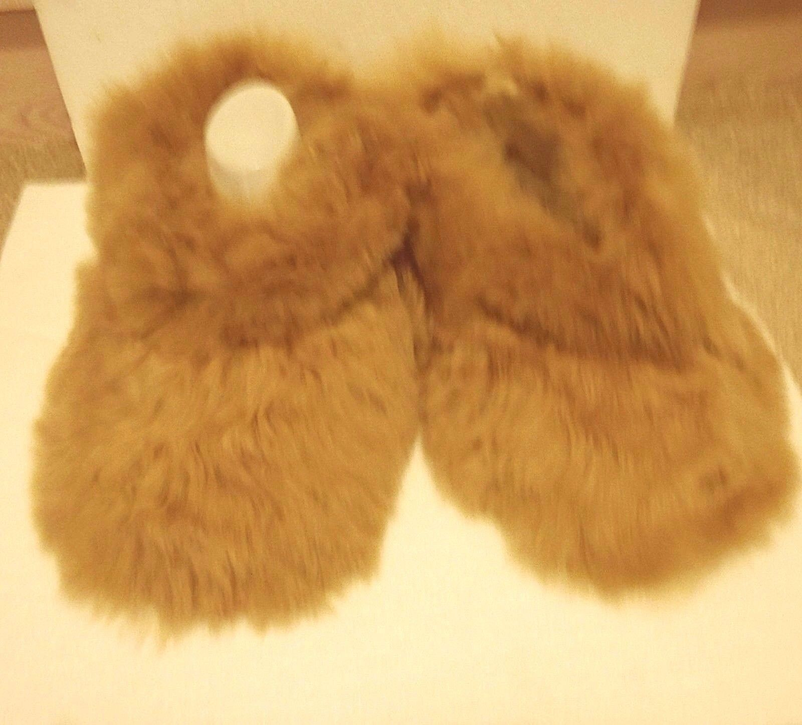 PERUVIAN ALPACA FUR SLIPPERS  BEIGE  3 sizes available