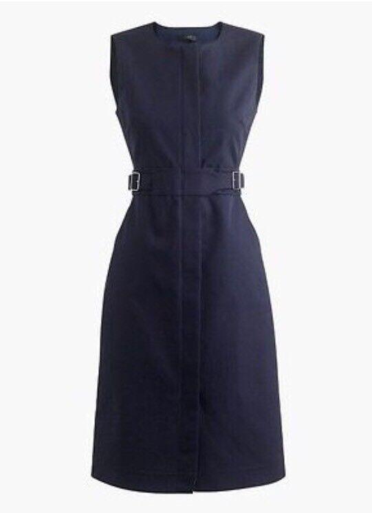 New J.CREW Zip-front Sleeveless Dress Navy bluee Size 2 G2717  138 Career