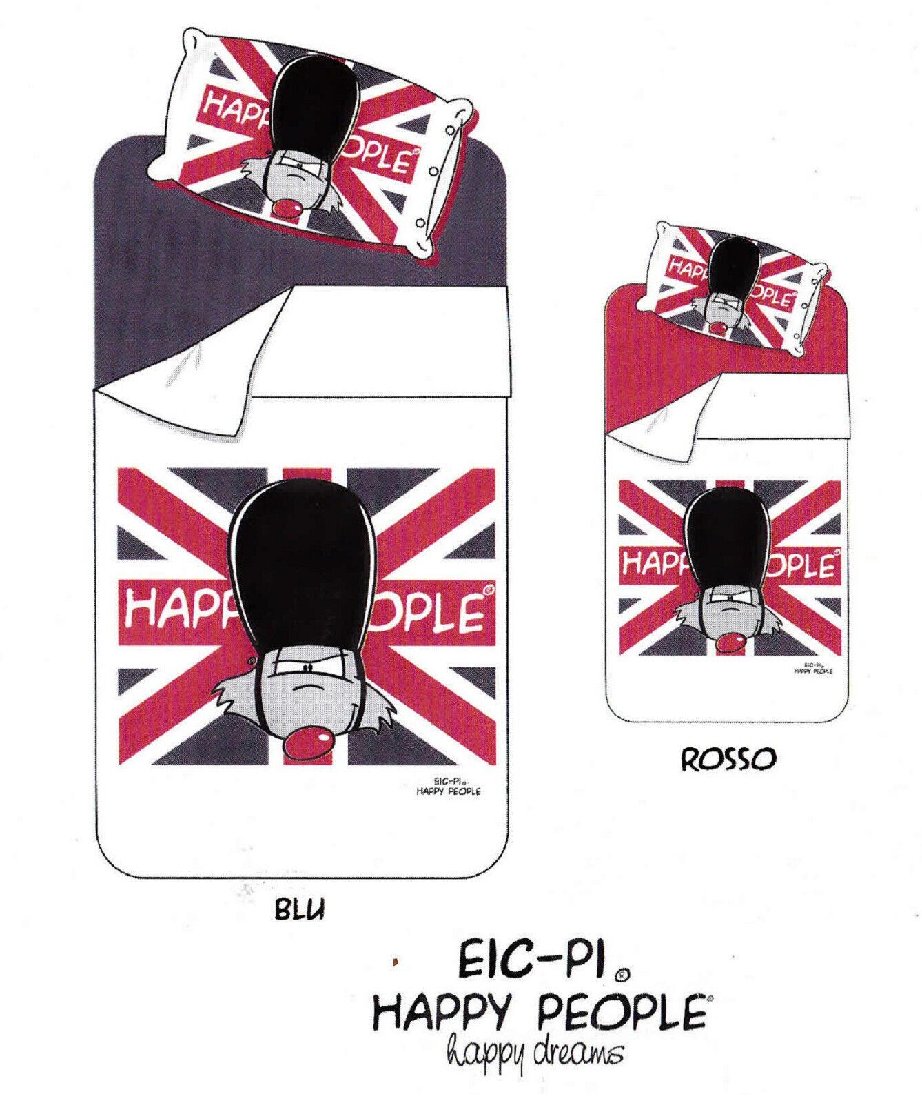Completo Letto, Lenzuola Cotone Percalle. Singolo. EIC-PI HAPPY PEOPLE PEOPLE HAPPY LONDON. f6856e