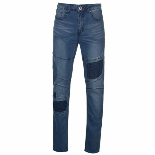 D555 Mens Newport Rips and Repairs Biker Jeans Tapered Pants Trousers Bottoms