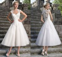 New White/Ivory Tea Length Short Vintage Lace Wedding Dress Bridal Gown Size6-18