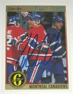 JOHN-LECLAIR-SIGNED-O-PEE-CHEE-PREMIER-MONTREAL-CANADIENS-CARD-AUTOGRAPH-AUTO