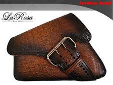 La Rosa Antique Brown Alligator Emboss Leather La Fondina HD Sportster Saddlebag