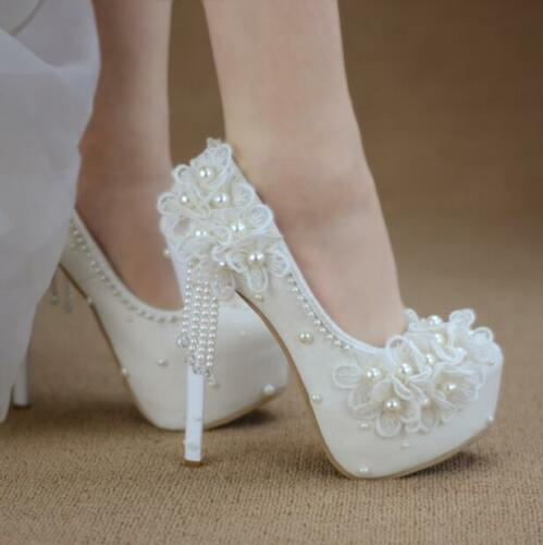 White Lace Flowers Pearl Round Toe Pumps High Heels Bride Princess Wedding Shoes