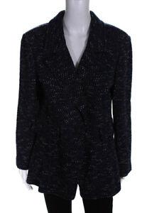 St-John-Womens-One-Button-Wool-Blazer-Navy-Blue-White-Size-16