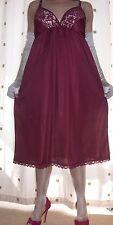 "Burgundy silky nylon lace bra full slip~nightie~gown size ex~large bust 42"""