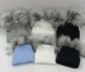 Baby Infant Knit Knitted Winter Bobble Hat Double Two Faux Raccoon ... 362ab1aa366