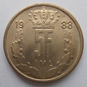 Luxembourg 5 Francs 1988-afficher Le Titre D'origine