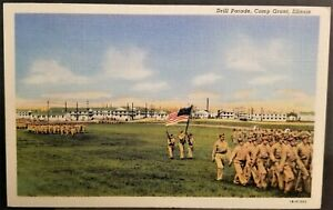 Military-World-War-II-Army-Soldiers-Drill-Parade-Camp-Grant-IL-1940s-Linen