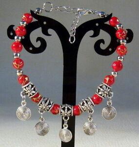 Hot-Handmade-Tibetan-Silver-Exquisite-Beaded-Bracelet-A02-Round-pendant