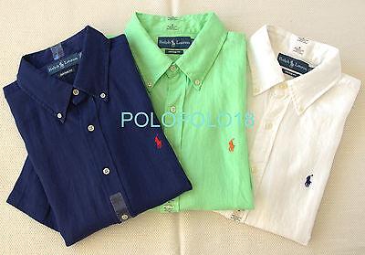 New Polo Ralph Lauren Pony Linen Custom Shirt Short Sleeve Navy XL