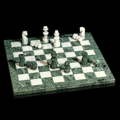 Scacchiera in Marmo Verde e Bianco con Pedine Italian Marble Chessboard 40x40cm