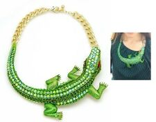 Huge Chunky Green rhinestones Alligator Crocodile statement necklace