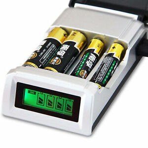 LCD-4-Slot-Ladegeraet-fuer-AA-Akku-AAA-NiMH-Ni-Cd-Wiederaufladbare-Batterien-Neu