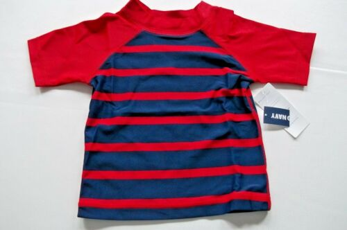 INFANT TODDLER BABY BOY BLUE RED STRIPED SHORT SLEEVE RASHGUARD SWIM SHIRT
