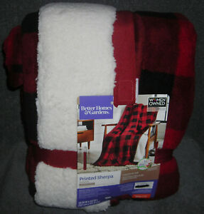 Red Buffalo Plaid Better Homes And Garden Faux Fur Throw Blanket 50 X 60