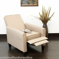 Living Room Contemporary Camel Leather Recliner Club Chair on sale
