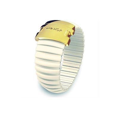 Anello Donna HIP HOP ICON HJ0097 Silicone Bianco Vaniglia Acciaio Gold Misura S