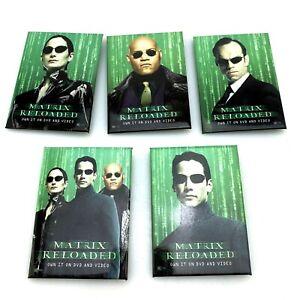 2003-MATRIX-RELOADED-Lot-5-Full-Set-Promo-PINBACK-BUTTONS-Keanu-Reeves