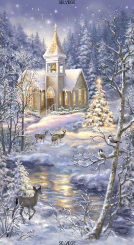 "Timeless Treasures Christmas Winter Church Blue White Scene 23/"" Fabric Panel"