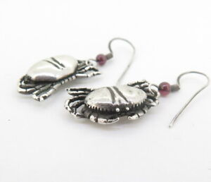 Cute-Crab-Earrings-with-Great-Detail-in-Sterling-Silver-amp-Garnet-Beads-7-84g