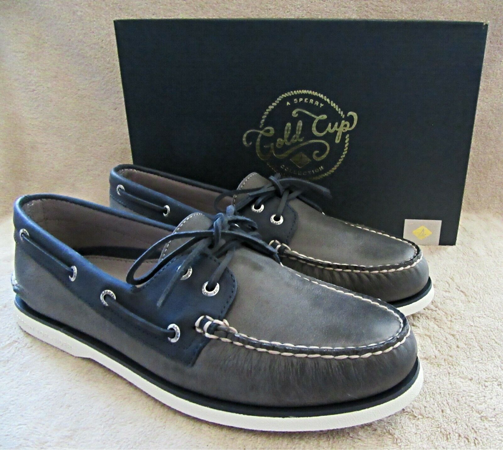 SPERRY gold A O 2-Eye Grey Navy Leather Slip On Boat shoes US 11 EUR 44.5 NWB