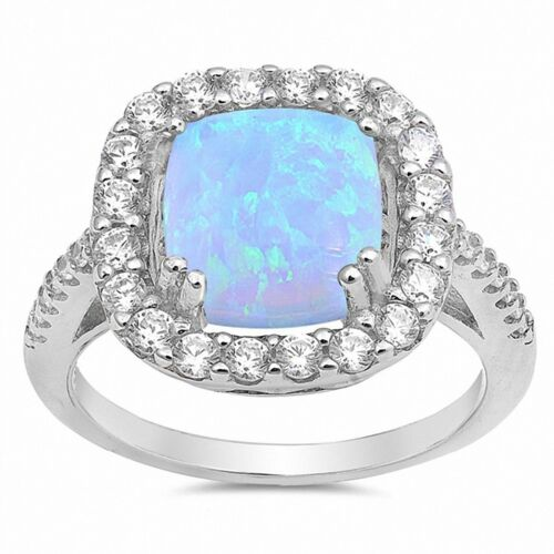 Halo Ring Princess Cut Created Opal Round Cubic Zirconia 925 Sterling Silver