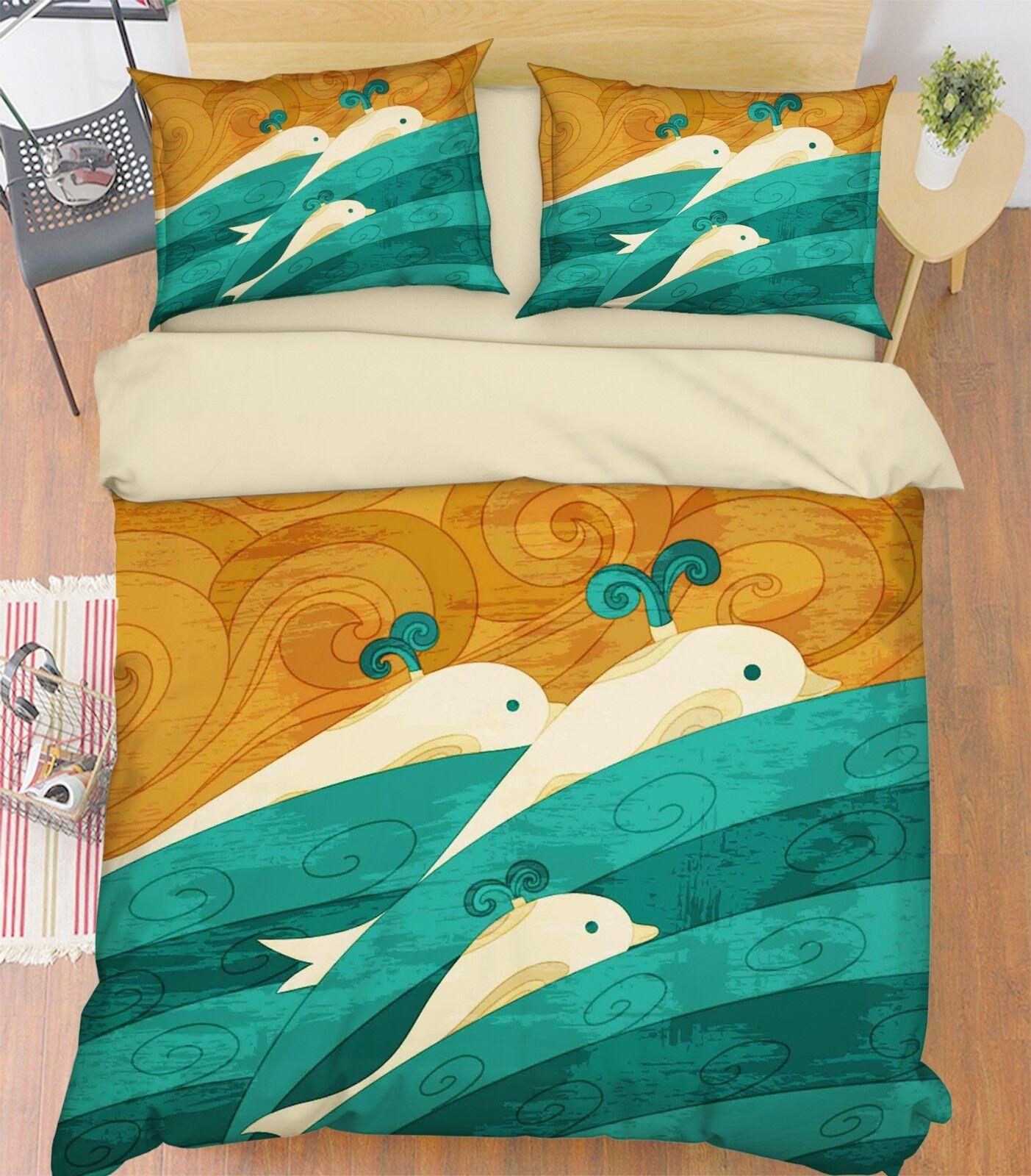 3D voituretoon Whale 809 Bed PilFaiblecases Quilt Duvet Cover Set Single Queen King CA