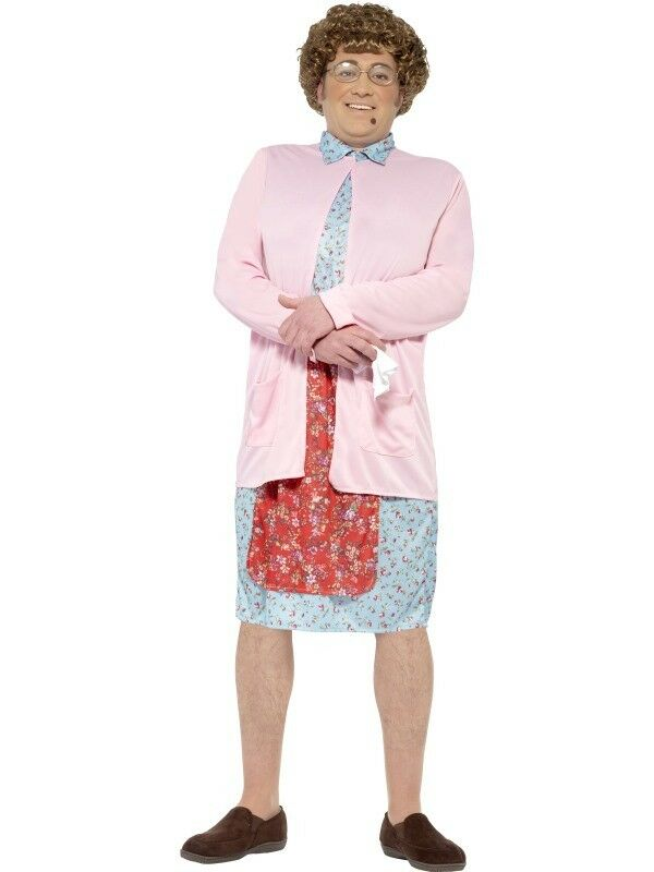Mrs Brown with Padded Dress & Cardigan Adult Mens Smiffys Fancy Dress Costume