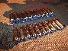 9MM LUGER SNAP CAPS  SET OF 20 (NICKEL+BLUE)