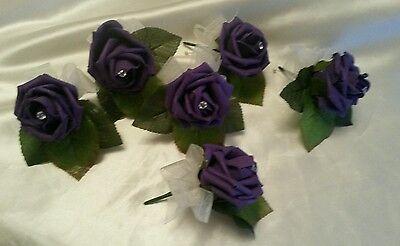 6x Cadburys Purple Single flower Rose Wedding Buttonholes NEW Handmade