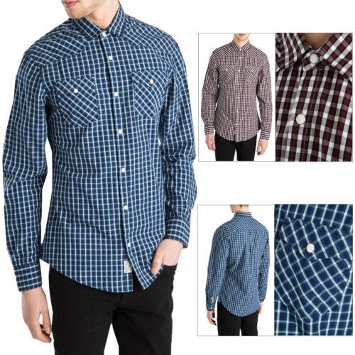 Élimée Homme Blackpool Designer Stud patte de boutonnage à manches longues coton chemise à carreaux