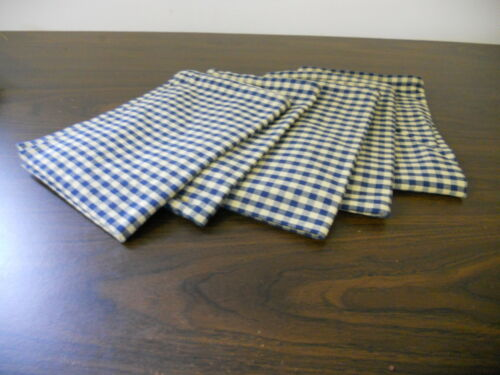 ANTIQUE PRIMITIVE REPRODUCTION BLUE AND YELLOW SMALL CHECK TEA TOWELS