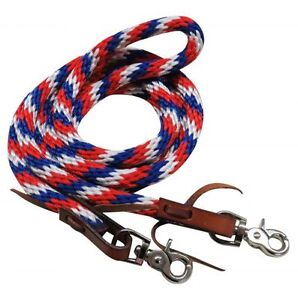 Western-Saddle-Horse-Heavy-Nylon-Rope-Barrel-Racing-Contest-Reins-Red-White-Blue