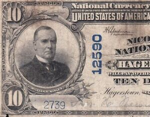 Nice-1902-10-HAGERSTOWN-MD-Ch-12590-Nicodemus-National-Bank-Note-FREE-SHIP