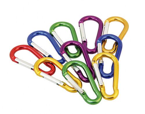 Alu-Karabinerhaken farbig /<10St.Pack/> Kettenverschluss Schlüsselanhänger